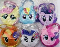 colorful handbags - 5pcs new colors Children My Little Pony Plush Handbags Baby Colorful Cute Horse Bags Shopping Bags Kids Cartoon Bags Wallets D079
