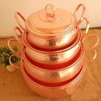 Wholesale Pure Copper Pot Stew Steam Soup Purple Deep Casserole Steamer Handmade