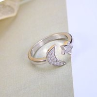 america star - 2016 Sapphire Jewelry Silve Ring Women Girl with Jewelry Rhinestone k Moon And Star Ringopening Couple Rings In Europe America Hot Sales