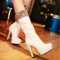 Cheap Cheap 2014 Hot Sales 12cm High Heels White Beauty Prom Evening Party Dress Women Lady Red Shiny Leopard Bridal Wedding Boots Shoes DL1313731