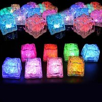 Wholesale Flashing Glowing LED Ice Cubes Sparkling Light Up Water Submersible Christmas Festival New Year Party Wedding Decoration mix color