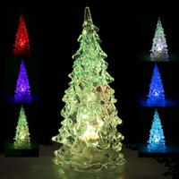 Wholesale Color Changing LED Christmas Tree Decorations Icy Crystal RGB Colorfull LED Decoration Night Light Lamp New Year Christmas Gift Ornaments