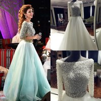 Wholesale 2015 Myriam Fares Luxurious Arabic Evening Dresses Scoop Beaded Sequins Pearls Half Sleeves Evening Gowns A line Tulle Prom Dresses