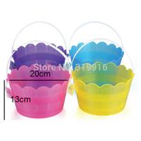 Wholesale Colored Easter eggs plastic basket small Toy basket for candy fruit hand basket kids storage baskets