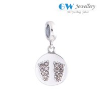 baby footprint jewelry - Baby bare footprint charms jewelry S925 sterling silver fits DIY bracelets and necklace hot sale S024I6