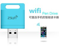 Wholesale zsun wifi pen drive Wireless card Reader for iPhone iSO Samsung Android wireless expansion