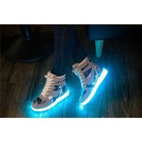 Wholesale Fast Cool Color USB Charging LED Shoes High Top Unisex Mens Womens Sneakers Luminous lights Glowing Sneakers Yeezy Zapatos Hombre Mujer