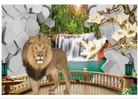 animal sound effects - 3d wallpaper European minimalist bedroom living room TV backdrop Animals Lions D stripes abstract mural wallpaper