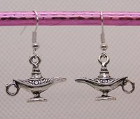 antique lamp pair - New Fashion Pair Antique Silver Alloy Retro Genie Magic Lamp Earrings Charms Pendant DIY Jewelry K141