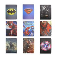 Wholesale Original Brand Cartoon Spider Man Batman Superman Stand PU Leather Cases Smart Cover For Ipad Ipad AIR ipad mini Tablet cover
