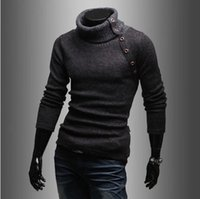 pullover men - Korea new autumn winter High collar design Solid color mans sweater fashion business casual sweaters men