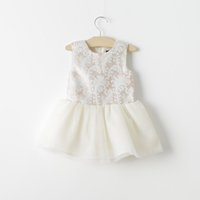 Cheap 2015 Spring Tulle Lace Princess Dresses Infant Baby girl floral beige tutu party dress children's clothes
