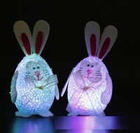 Wholesale 2016 New Hot LED Flash Rebbits Chicken Colorful Egg Changeable Color Night Light for Easter