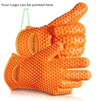Cheap Silicone BBQ Gloves Heat Resistant Cooking Glove Potholder Grilling Gloves Oven Gloves Insulated Waterproof Five-Fingered Grip