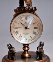 Wholesale Collectible Decorated Old Brass Carved Eagle Mechanical Table Clock Watches