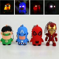 Wholesale The Avengers Superheroes LED keychain Batman Ironman Spiderman Superman Captain America Super hero Led light sound Keychains keyring pendent
