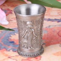 Wholesale Hot Zinc alloy Egyptian pharaoh Blackjack Sculpture Wineglass D Engrave Vivid Indian chiefs Cup Creative House Decoration
