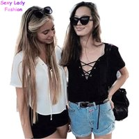american apparel white t shirt - Sexy American Apparel AA metal eyelets lacing up Tee New Women V neck Short Sleeve Short T shirt crop top black white color