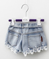 Wholesale Baby Girls Clothes Lace Girl Shorts Jeans Kids Clothing Summer Children Demin Short Jean Casual Pants Brand Cowboy Pant Blue I2646
