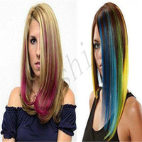 Wholesale Highlight Hair women Long inch Clip in On Straight Hair Extensions Synthetic false Hair piece Multiple Color Hair Extension