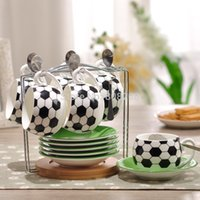 ceramic cup and saucer - Creative football mugs ceramic coffee cup set cups disc tablespoons coffee cup and saucer with rack