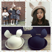 baby fedora hats - Children Wool Hats Cap Autumn Winter Baby Girls Rabbit Ear Hats Devil Dome Cap Black Khaki Color Fedoras Kids Round Caps for Y