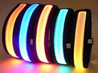 Wholesale LED armband Flashing Arm band Caution Safety Arm Band Wrist Strap Armband for Outdoor Sports Night Running Party DHL freeshipping