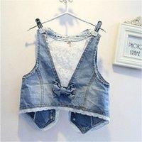 Wholesale Fashion Girls Kids Baby lace Sleeveless Demin Coat Jacket girls clothes size90