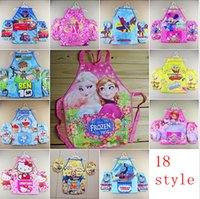 kids aprons - Frozen Painted Kids Oxford Apron With Cuff Popular For Painting Cooking Kitchen Clean Tools princess mickey sofia tomas plane big hero