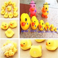 Wholesale Duck Baby Bath Water toys Sounds Yellow Rubber Ducks Kids Bathe Children Swimming Beach Gifts size environmental water toy pc free ship