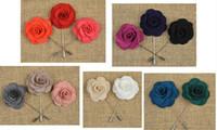 Women's beaded garments - 2015Fashion Pins Brooches Handmade Beaded Flower Felt Flower Lapel Pin Boutonniere Colors Stick Pin Garment accessories pin