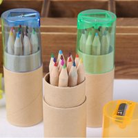 Wholesale 12 Colors Drawing Writing Wooden Pencils Enclosed Pencil Sharpener Girl Painting Stationary Supplies