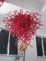 Wholesale Free Air Shipping Color Size Customized Big Red Best Selling Party Deco Modern Chihuly Style Chandelier