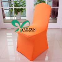 Wholesale Nice Looking Orange Color Wedding Lycra Spandex Chair Cover