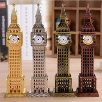 Wholesale High quality clock tower Big Ben clock tower in Paris Time Clock Home Decoration vintage metal desk clock