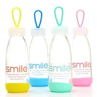 glass soda bottle - Creative cups milk smile smiley transparent glass soda bottle sealed portable cup slip student