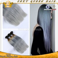 Cheap Hot Sale Ombre Brazilian Virgin Hair Straight 3pcs lot Two Tone Ombre Brazilian Human Hair 1B Gray Hair Weft Extensions