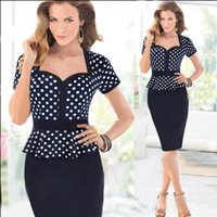 Wholesale Cheap New Women Fashion Dresses Short Sleeve Contrasted Sheath Party Dress Polka Dots Ruffle Two Piece Design OL Work Pencil Dresses