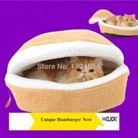 Wholesale Kitty Hamburger Pet Dog House Bed Windproof Pet Nest Shell Cat Bed Hiding Burger Bun Pet Cat Bed Nest
