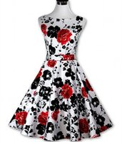 big size dresses women - Dropshopping Newest Hepburn Retro s Style Vintage Sheath Print Printed Dress Slim Big tutu Dress Size S XXL