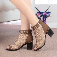 ladies leather boots - Genuine Leather Open The Toe Gauze Thick High Heel Woman Summer Ankle Sandals Boots Lady Grenadine Peep Toe Pearl SXQ0522