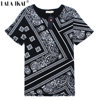 Wholesale Latest Plus Size XL T Shirt Men Swag La Rhude Bandana Print HARAJUKU Ktz Flowers Cashew Worldshine Hip Hop Mens Tshirt SMB0185