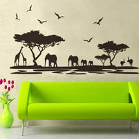 african wallpapers - Removable Wall Sticker African Animals Tree DIY Wallpaper Art Decals Mural for Room Decal cm Home Decor Decoration