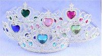 Wholesale Cosplay Coronation tiara Elsa Anna Princess Gold Queen Crown Hearts Diamond Tiara Party Hair Accessories Pageant for Children Christmas gift