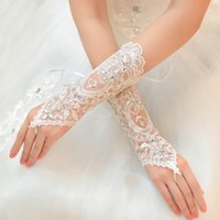 fingerless lace bridal gloves - Hot Sale Bridal Accessories White Ivory Fingerless Lace Crystals Bridal Wedding Gloves Cheapest Price High Quality Below Elbow Length Gloves