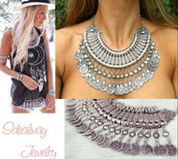 Wholesale Bohemian Antalya Gypsy Festival Turkish Silver Coin Collar Statement Necklace
