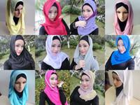 arabic head scarf - In Stock Colorful Silk like Shiny Bridal Muslim veil Hijab Arabic Dubai Women Head Scarfs Turban Lavender Blue Muslim Wedding Veils SL0647