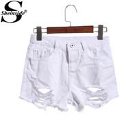 Cheap 1602 Sheinside White Ripped Mid Waist Skinny Button Fly Dual Pockets Sexy Beach Wear Summer 2015 Women Fashion Denim Shorts