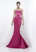 Cheap 2015 New Arrival Evening Dresses Mermaid Rose Strapless Peplum Sweep Train Formal Prom Party Dresses Dhyz