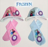 Wholesale HOT Frozen girl scarf hats suit Ice snow princess scarves cap Anna Elsa Children Accessories Snow adventure Embroidery hats sets ZB